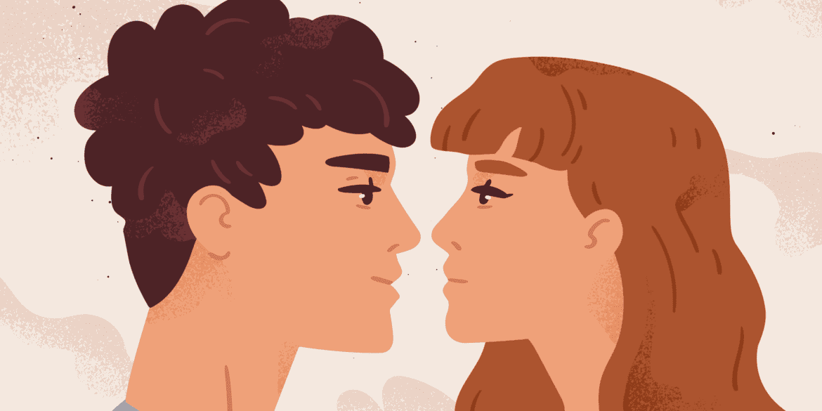 Romantic couple in love looking at each other
