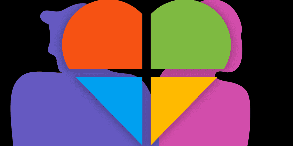 Windows logo in a heart symbol with a silhouette of a couple in the background
