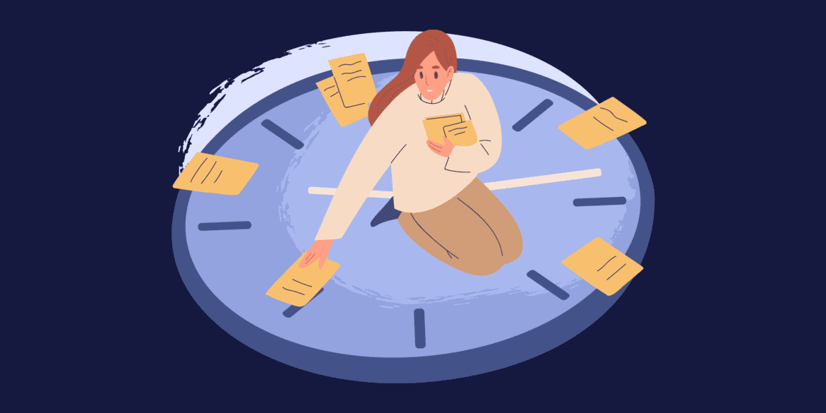 Woman handling papers sitting a clock