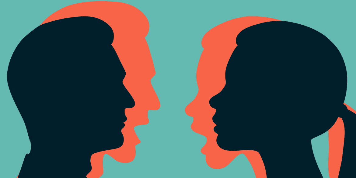 Silhouettes of a couple showing two sides of their emotions