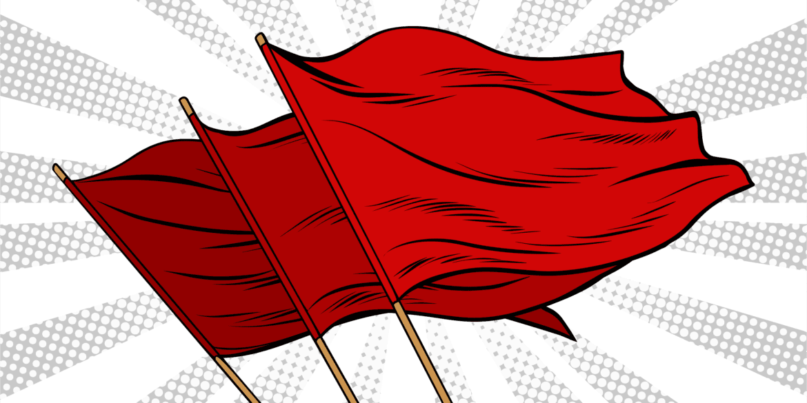 Pop art illustration of 3 red flags
