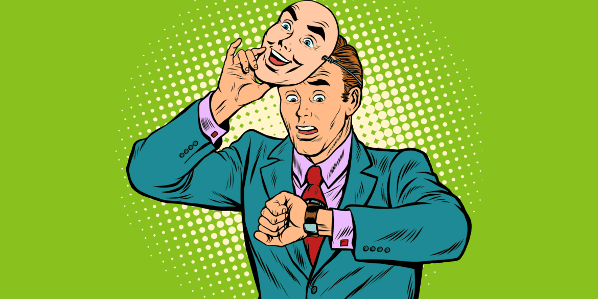 Pop art of man in suit checking his watch and being worried